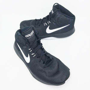 Nike Mens Air Precision High Top Black White Shoes